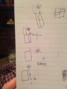 Kate: Look, mommy! I drew daddy pooping on toilet and he dropped on the floor.